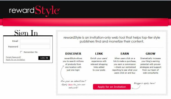 Rewardstyle homepage